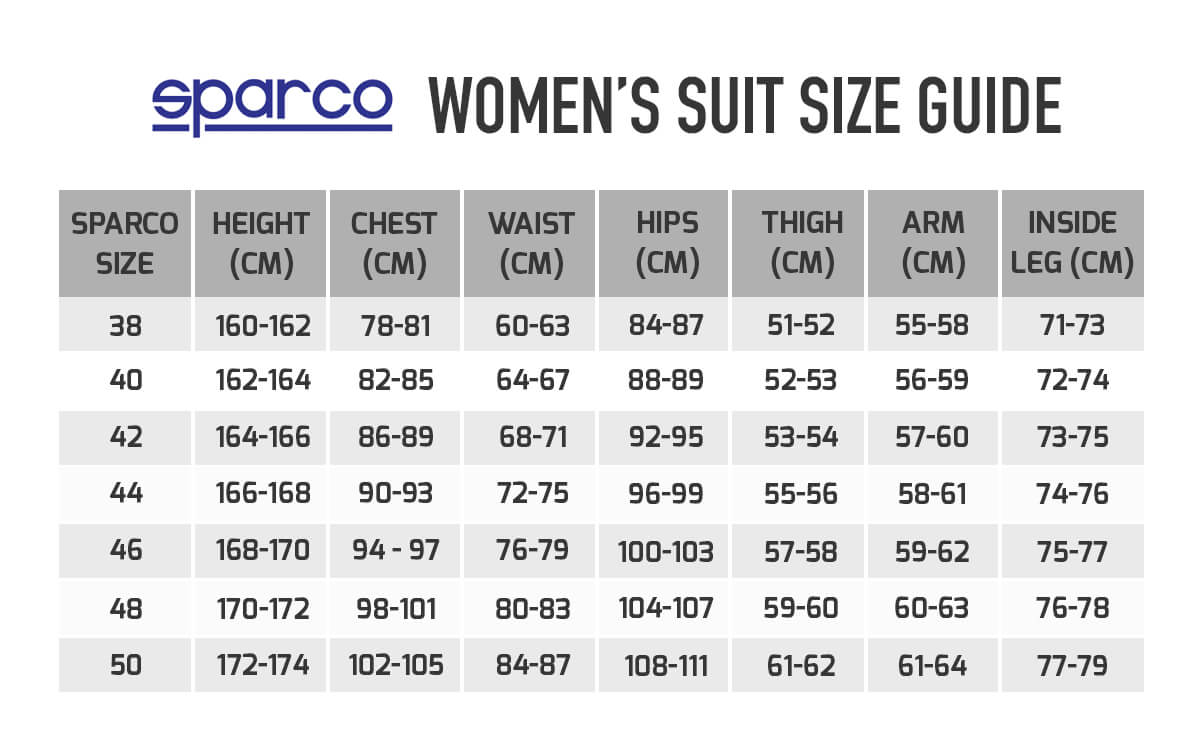 sparco-womenwear-sizeguide
